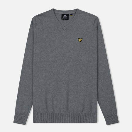 Мужской свитер Lyle & Scott Cotton Merino V Neck Jumper Mid Grey Marl