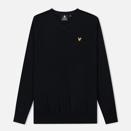 Мужской свитер Lyle & Scott Cotton Merino V Neck Jumper True Black