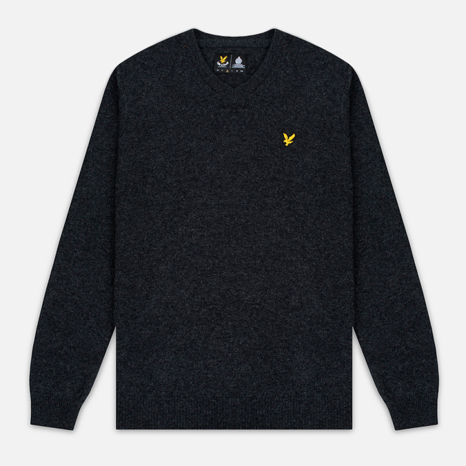 Мужской свитер Lyle & Scott V Neck Lambswool Charcoal Marl
