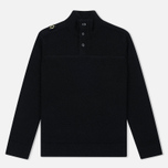Мужской свитер MA.Strum Soft Shetland Button Placket Jet Black фото- 0
