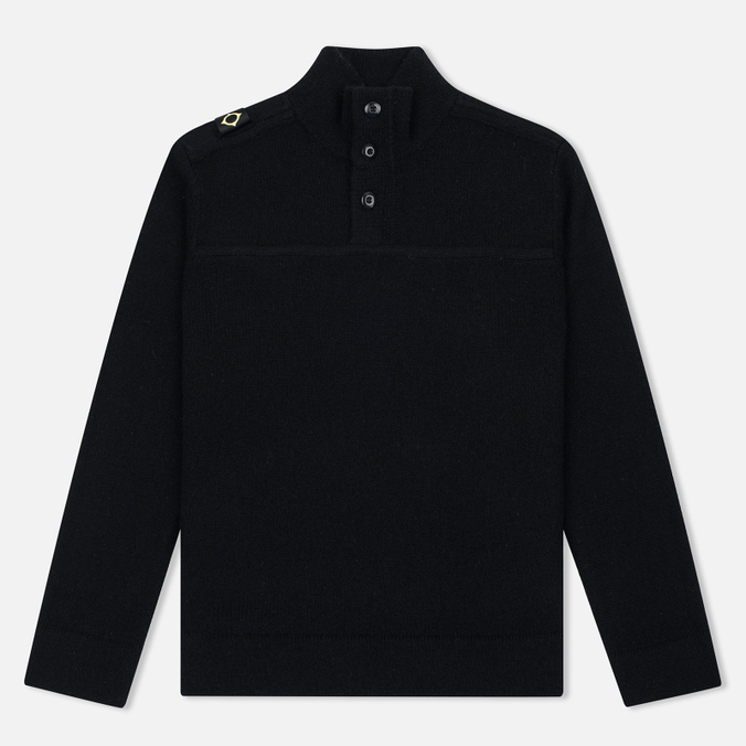 Мужской свитер MA.Strum Soft Shetland Button Placket Jet Black