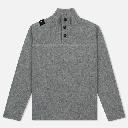 Мужской свитер MA.Strum Soft Shetland Button Placket Medium Grey Melange