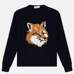 Мужской свитер Maison Kitsune Fox Head Navy фото- 0