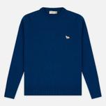 Мужской свитер Maison Kitsune Lambswool R Neck Blue фото- 0