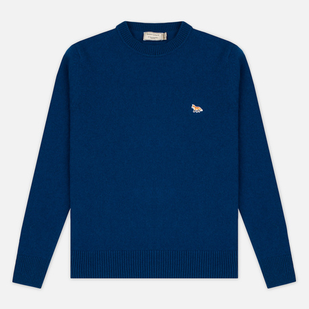 Maison Kitsune Lambswool R Neck Men's Sweater Blue