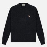 Мужской свитер Maison Kitsune Lambswool R Neck Dark Grey Melange фото- 0