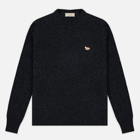 Maison Kitsune Lambswool R Neck Men's Sweater Dark Grey Melange