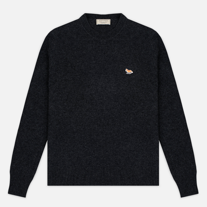 Мужской свитер Maison Kitsune Lambswool R Neck Dark Grey Melange