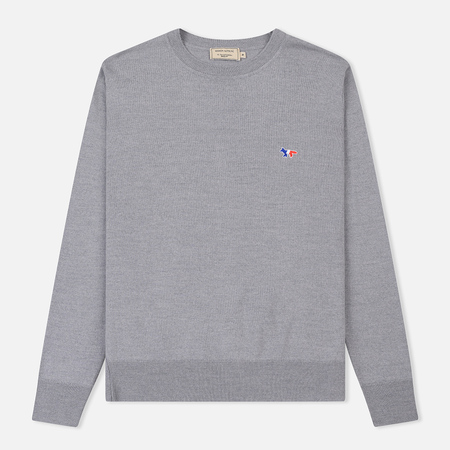 Мужской свитер Maison Kitsune Virgin Wool R-Neck Pullover Grey Melange