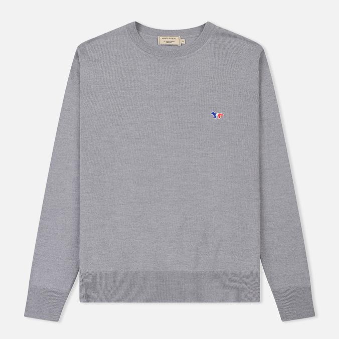 Мужской свитер Maison Kitsune Virgin Wool R-Neck Pullover Grey Melange