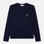 Мужской свитер Maison Kitsune Virgin Wool R-Neck Pullover Navy фото- 0
