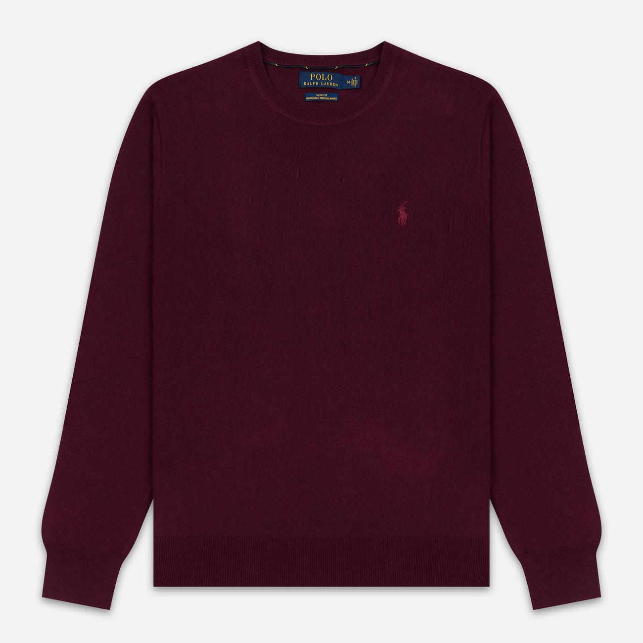 Мужской свитер Polo Ralph Lauren Classic Crew Neck Merino Wool Classic Burgundy