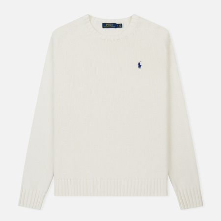 Мужской свитер Polo Ralph Lauren Classic Logo Cotton Crew Neck White