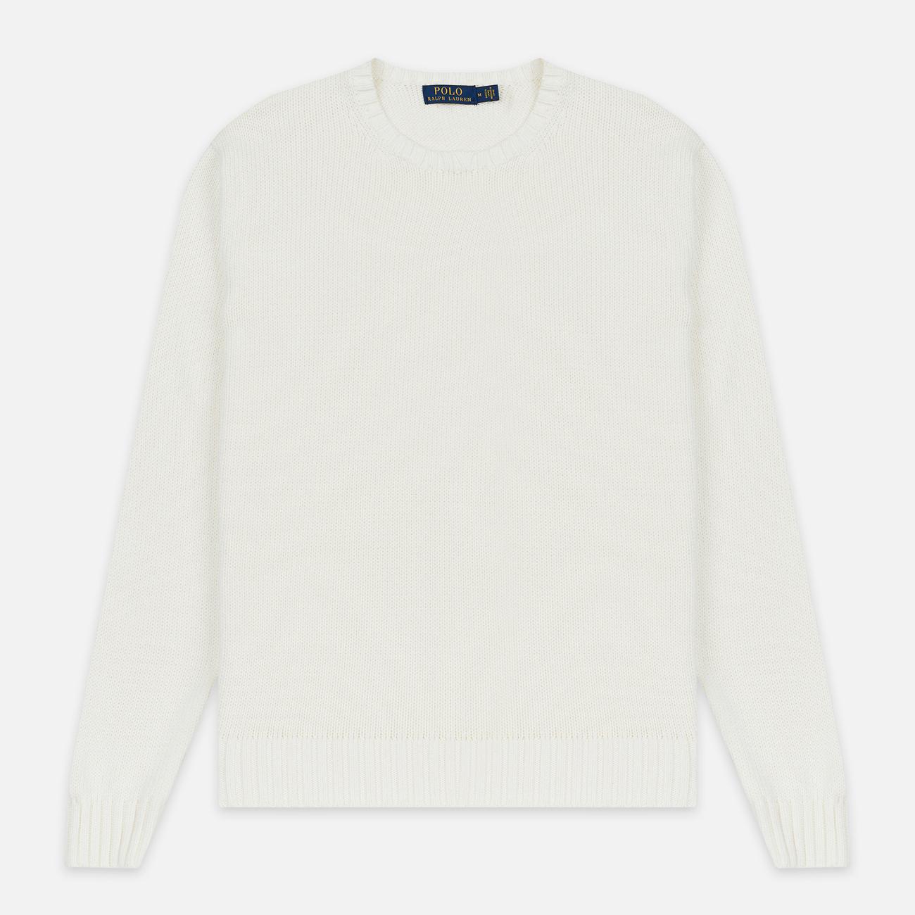 Мужской свитер Polo Ralph Lauren Classic Logo Cotton Crew Neck White