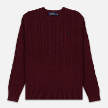 Мужской свитер Polo Ralph Lauren Crew Neck Cable Knit Classic Wine фото- 0