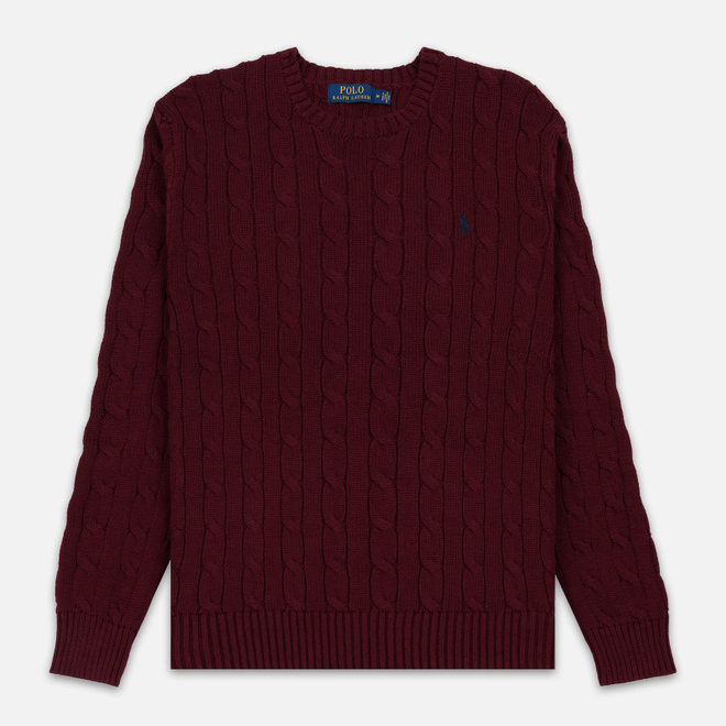 Мужской свитер Polo Ralph Lauren Crew Neck Cable Knit Classic Wine