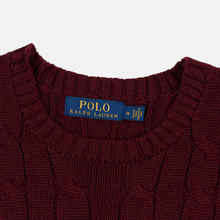 Мужской свитер Polo Ralph Lauren Crew Neck Cable Knit Classic Wine фото- 1