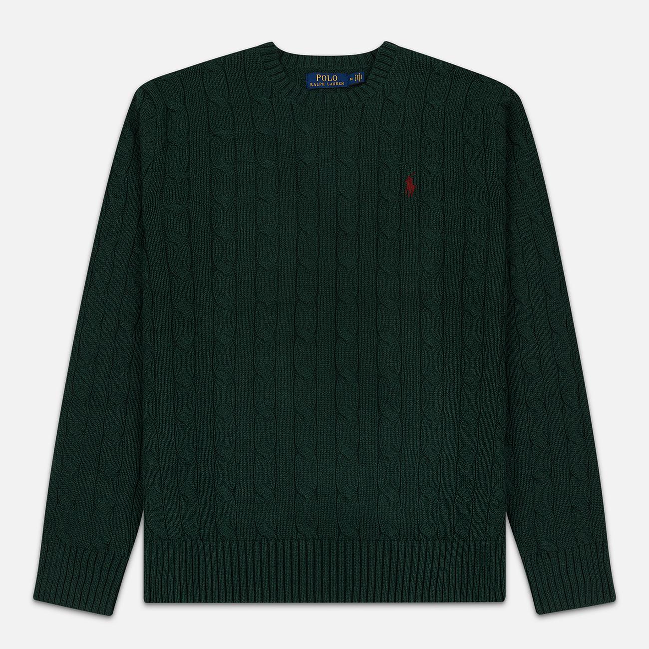 Мужской свитер Polo Ralph Lauren Crew Neck Cable Knit Scotch Pine Heather