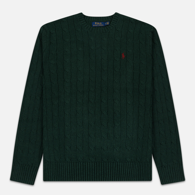 Мужской свитер Polo Ralph Lauren Crew Neck Cable Knit Scotch Pine Heather