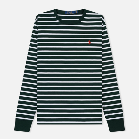 Мужской лонгслив Polo Ralph Lauren Pima Soft Touch Stripe College Green/White