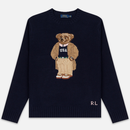 Мужской свитер Polo Ralph Lauren USA Polo Bear Wool Blend Navy