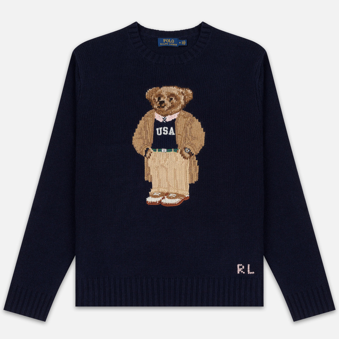 Мужской свитер Polo Ralph Lauren USA Polo Bear Wool Blend Navy