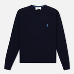 Мужской свитер Pringle of Scotland Contrast Crew Neck Navy фото- 0