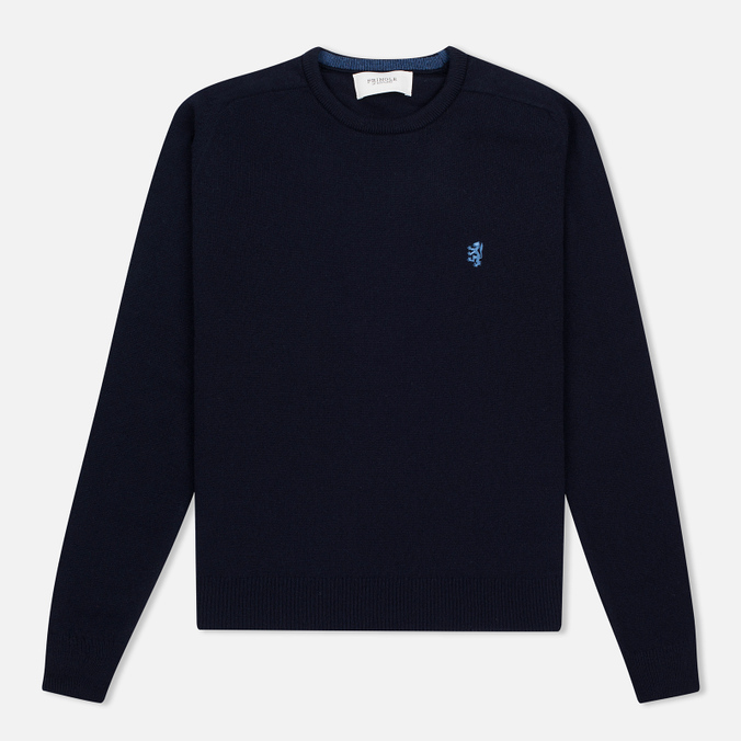 Мужской свитер Pringle of Scotland Contrast Crew Neck Navy