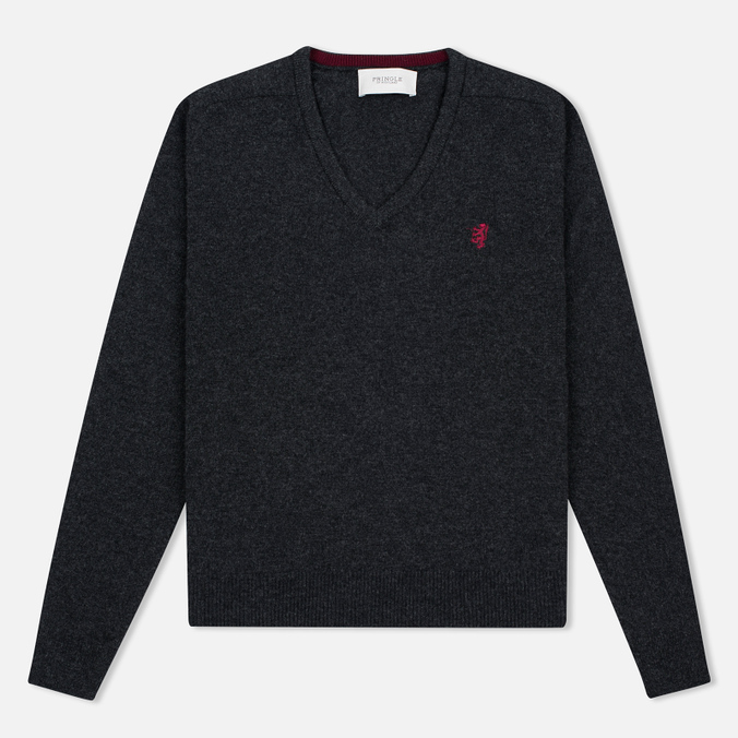 Pringle of Scotland Contrast V Neck Men's Sweater Charcoal