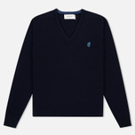 Мужской свитер Pringle of Scotland Contrast V Neck Navy фото- 0
