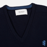 Мужской свитер Pringle of Scotland Contrast V Neck Navy фото- 1