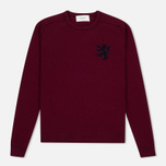 Мужской свитер Pringle of Scotland Lion Intarsia Crew Neck Burgundy фото- 0