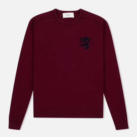 Мужской свитер Pringle of Scotland Lion Intarsia Crew Neck Burgundy