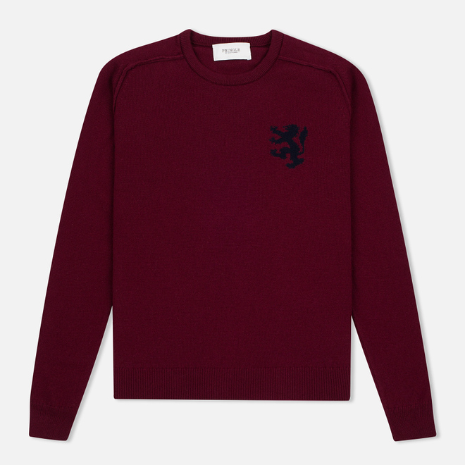 Мужской свитер Pringle of Scotland Lion Intarsia Crew Neck Burgundy