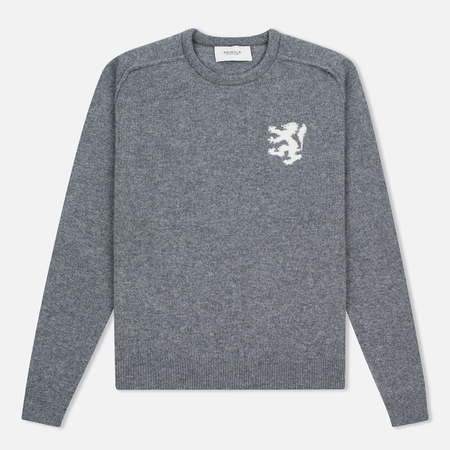 Мужской свитер Pringle of Scotland Lion Intarsia Crew Neck Grey Melan