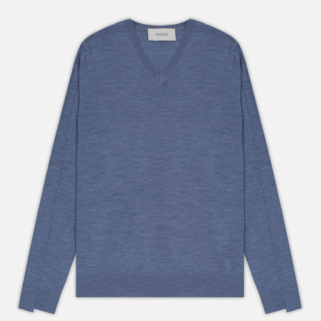 Мужской свитер Pringle of Scotland Rib Trim V-Neck Denim Blue