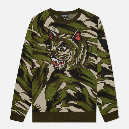 Мужской свитер RIPNDIP Tiger Nerm Green Camo
