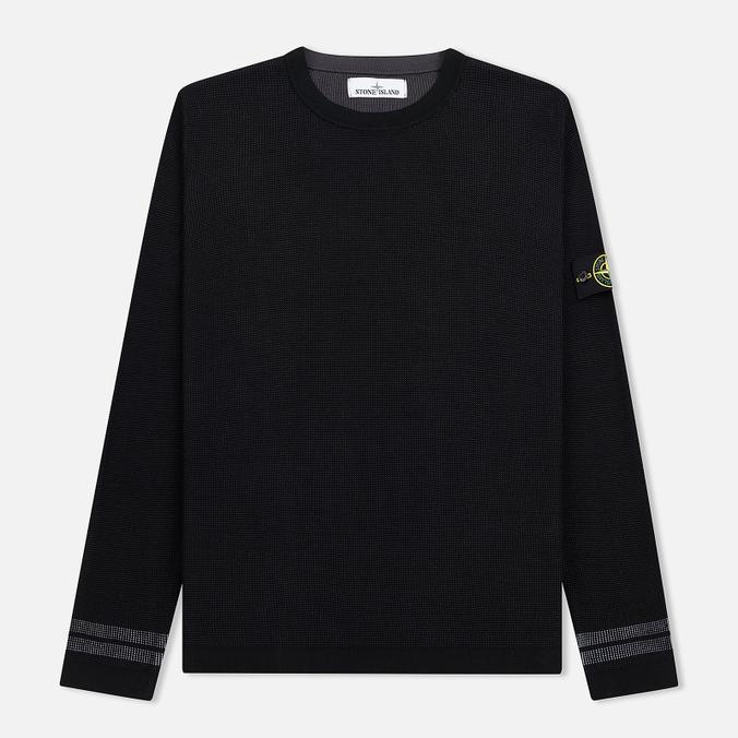 Мужской свитер Stone Island Bicolor Optical Ribbing Effect Black