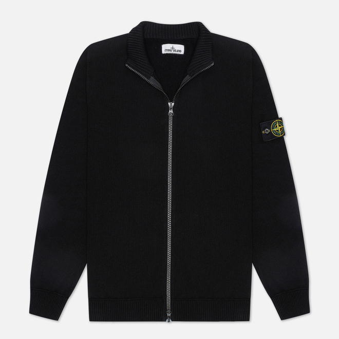 Мужской свитер Stone Island Cardigan Zip Terry Stitch Black