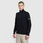 Мужской свитер Stone Island Collar Hidden Zip And Four Buttons Black фото- 1