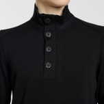 Мужской свитер Stone Island Collar Hidden Zip And Four Buttons Black фото- 2