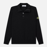 Мужской свитер Stone Island Collar Hidden Zip And Four Buttons Black фото- 0