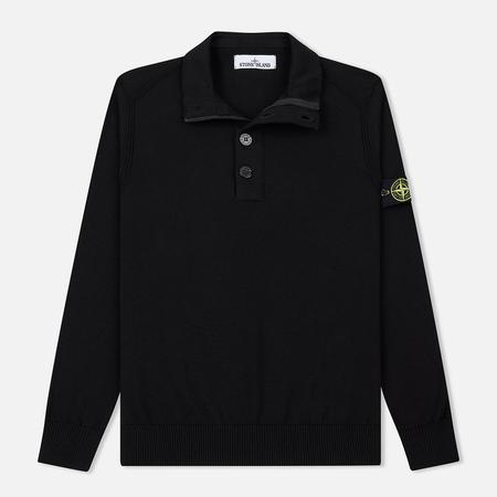 Мужской свитер Stone Island Collar Hidden Zip And Four Buttons Black