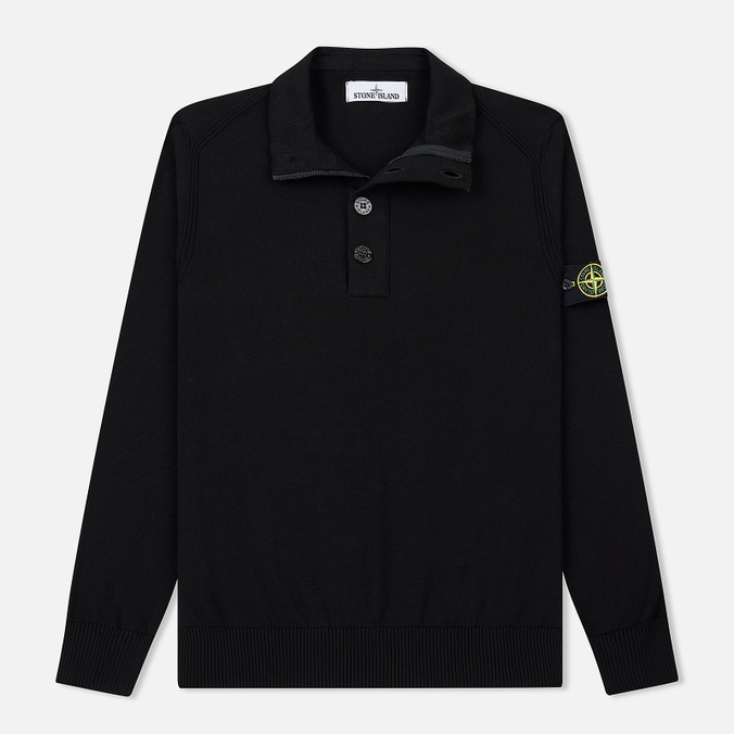 Мужской свитер Stone Island Collar Hidden Zip And Four Buttons Black