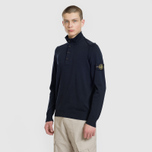 Мужской свитер Stone Island Collar Hidden Zip And Four Buttons Navy Blue фото- 1
