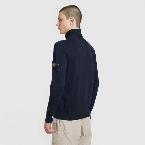 Мужской свитер Stone Island Collar Hidden Zip And Four Buttons Navy Blue