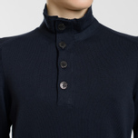 Мужской свитер Stone Island Collar Hidden Zip And Four Buttons Navy Blue фото- 2