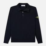 Мужской свитер Stone Island Collar Hidden Zip And Four Buttons Navy Blue фото- 0