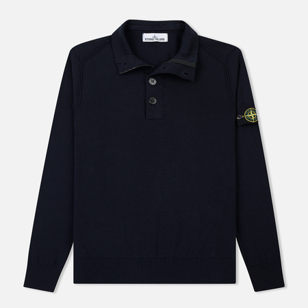Мужской свитер Stone Island Collar Hidden Zip And Four Buttons Navy Blue