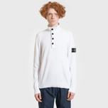 Мужской свитер Stone Island Collar Hidden Zip And Four Buttons White фото- 1